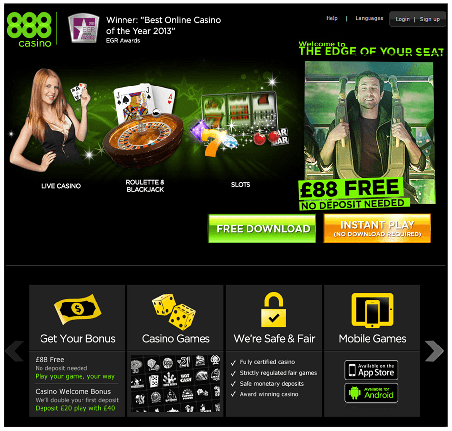 888 Casino homepage wtih the current bonus information