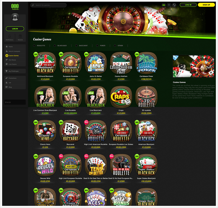 The main game lobby of 888casino, featuring some of the available games