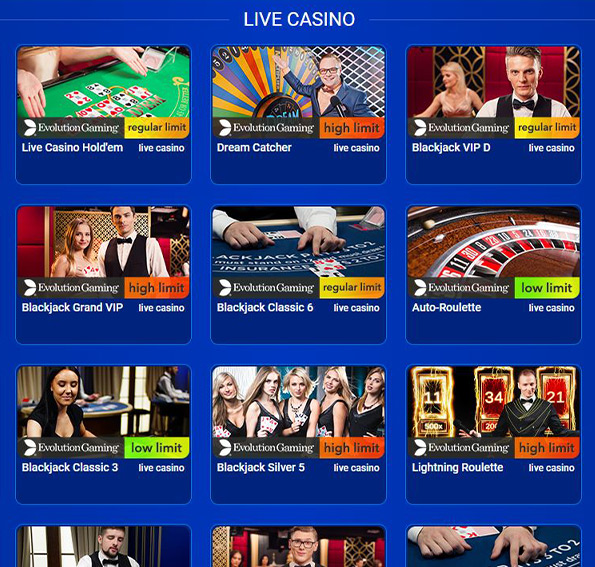 Some of the live dealer games that are available to users of the All British Casino website.