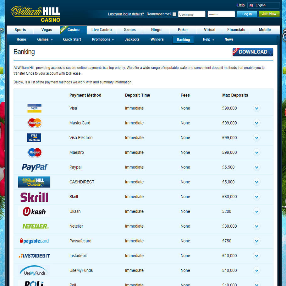 William Hill offers over 40 secure payment methods