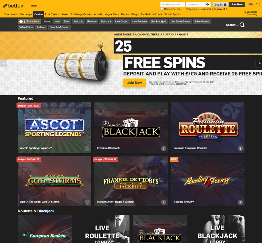 Betfair Casino homepage