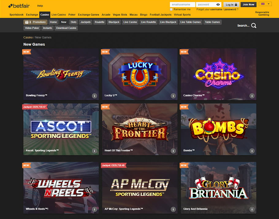 All games at Betfair can be played in the browser or download version