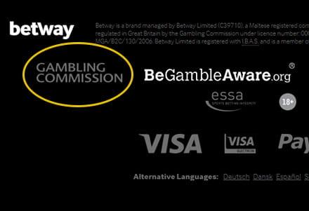 Bild mit der Fußzeile der Website des Betway-Kasinos. Ein gelber Kreis um die Lizenz der britischen Glücksspielkommission markiert, wie sie zu finden ist.