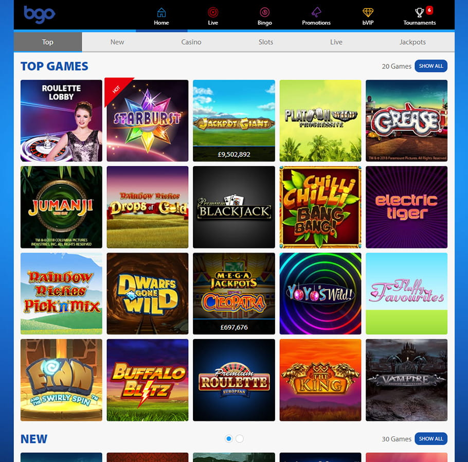 The Game Selection at bgo Casino
