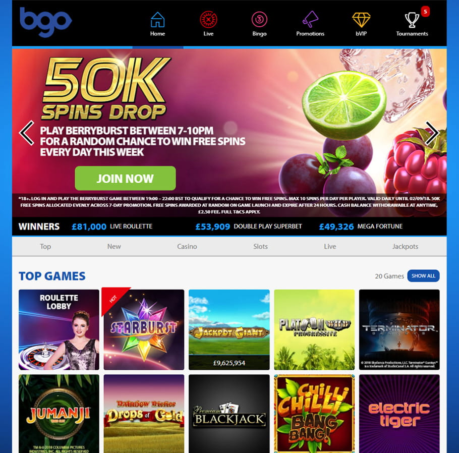 bgo Casino Main Page