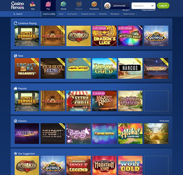 View of the Casino Heroes games main page