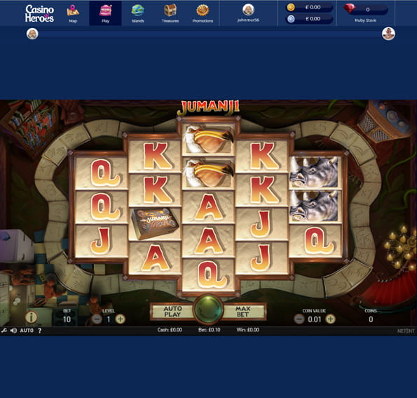 In-game action from the Jumanji slot game, available at Casino Heroes