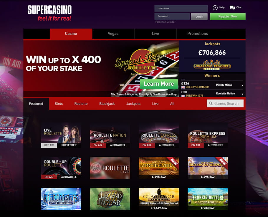 Featured Games at Supercasino