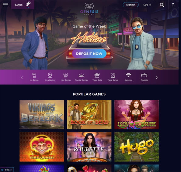 View of the main Genesis Casino Games page, showing featured game and popular games