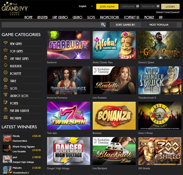View of the Grand Ivy main games page