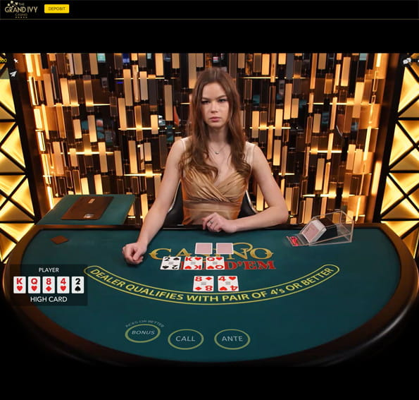 In-game action from a Grand Ivy Live Casino Hold'em game