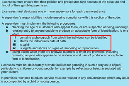 Bild mit den Bestimmungen der britischen Glücksspielkommission, die erklären, wie ein Casino die Identität eines Spielers überprüfen muss.