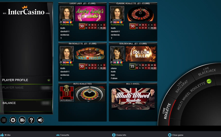 InterCasino Live-dealer Menu
