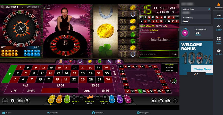 InterCasino Lucky Lady Roulette