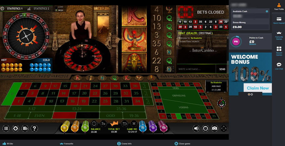 InterCasino Ra Roulette Live Dealers