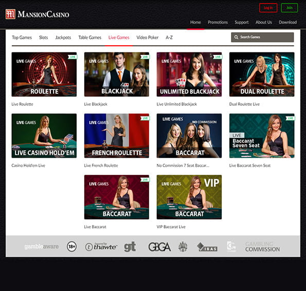 A selection of the live games at Mansion Casino
