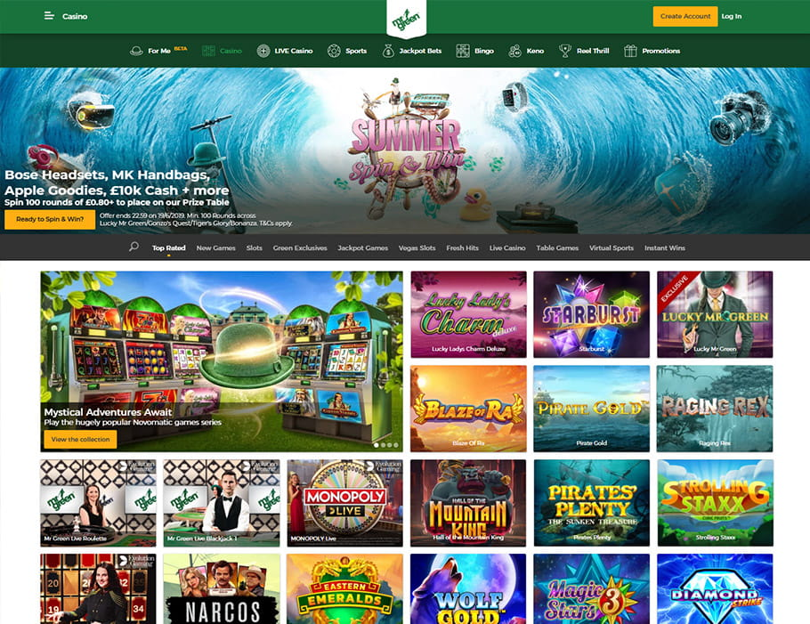 Main Page at Mr Green Casino