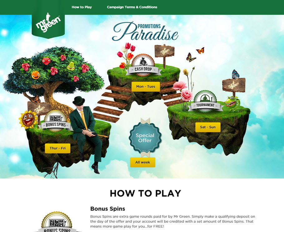 Casino Promotions Paradise at Mr Green