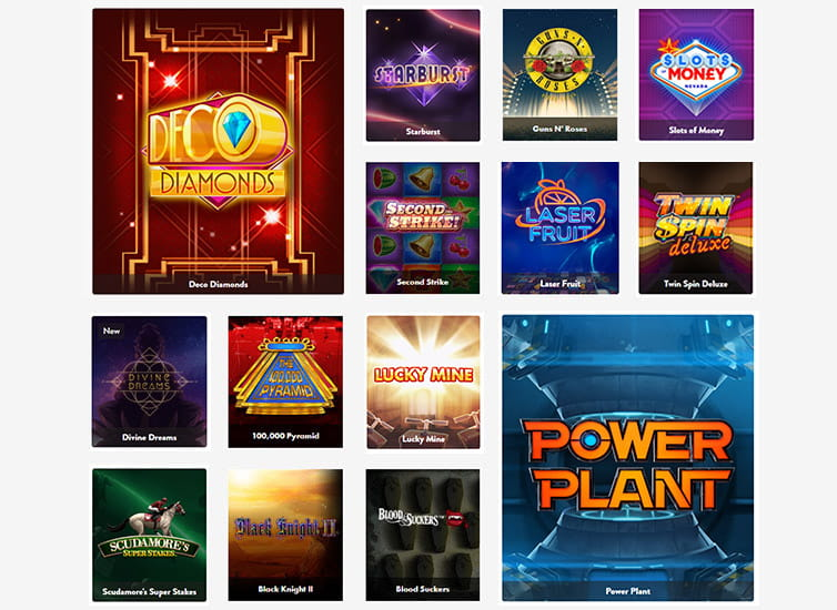 The slot games available at Dunder casino.