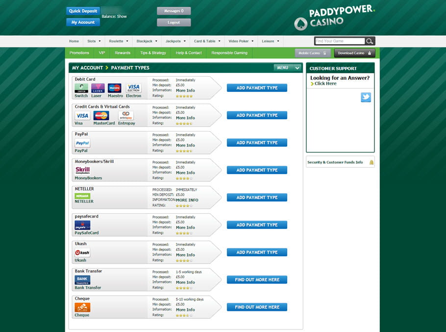 Payments at Paddy Power Casino