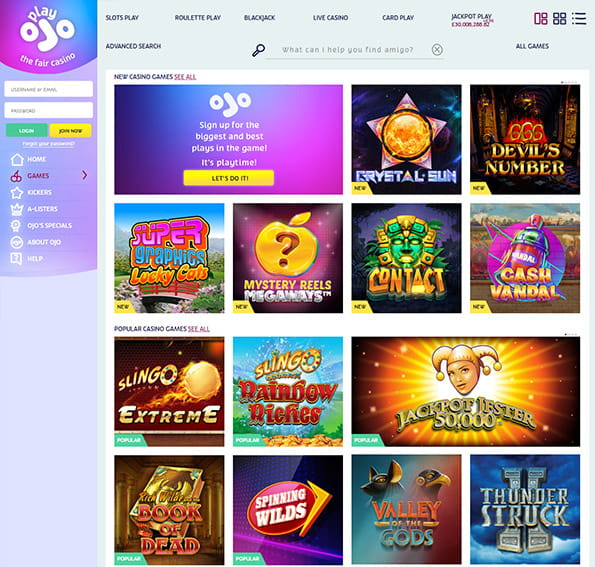 View of the PlayOJO main games page
