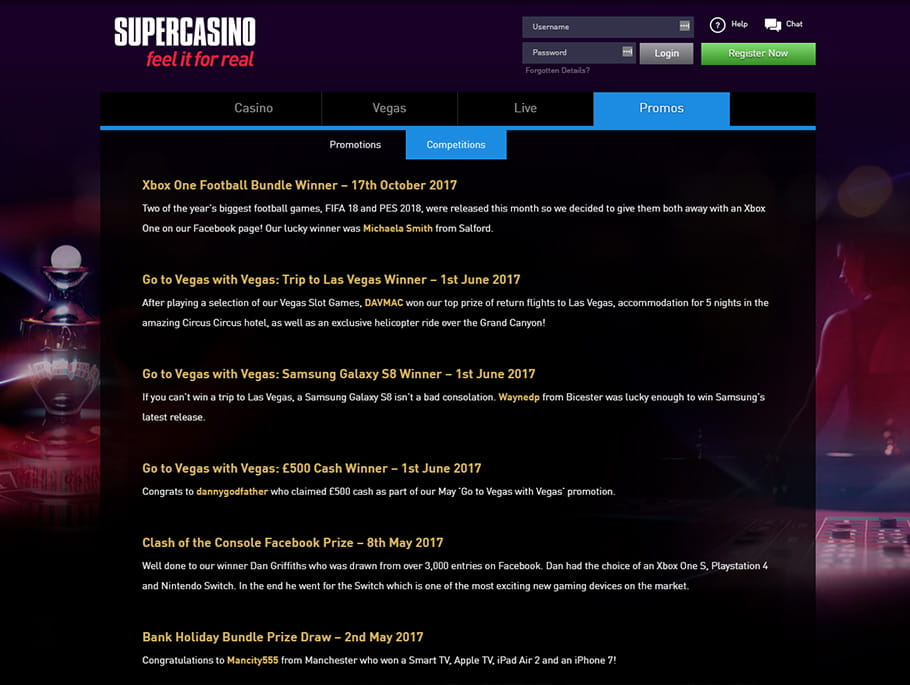 Supercasino Bonuses and Promotions