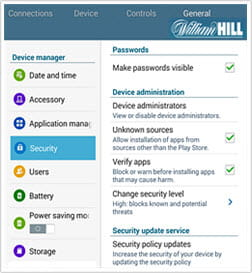 installation settings for Android William Hill download